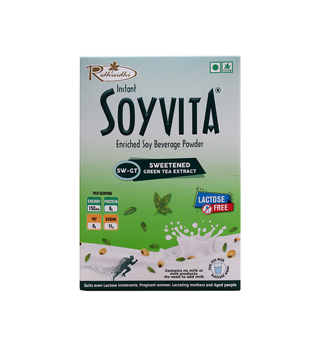 SOYVITA – SWEETENED GREEN TEA EXTRACT | LACTOSE FREE | ENRICHED SOY BEVERAGE POWDER | Serves-6 (200 Gms)